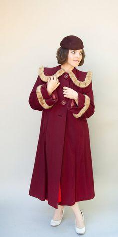 Vintage 1940s Coat  Claret  Beautiful by WildHoneyPieVintage, $340.00