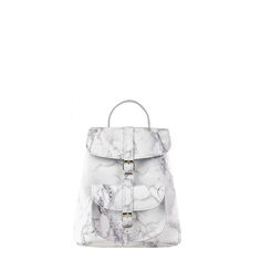 Colours: Marble PrintSmall Size LeatherTwo adjustable shoulder strapsOne Front PocketMade in England Grafea Backpack, White Leather Backpack, Baby Backpack, Marble Print, Cool Items, Retail Therapy, Petra, Bucket Bag, Fashion Backpack