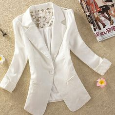 2014 Spring Jaqueta Female Summer Lace Suits Women Casual Casacos One Button  Chaqueta Mujer White Yellow 5e06a9ea95e