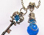 Mana Potion - Vibrant Blue Potion - Silver Vial Necklace
