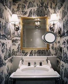 Neo-classical wallpaper in powder bath (remove magnification mirror)