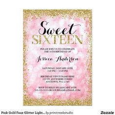 Pink And Gold Faux Glitter Lights Sweet 16 Birthday Party Invitations