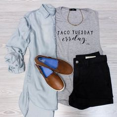 Already think'n bout them tacos.  Shop these items online under shopable posts. www.shopelysian.com! Best Western Suede Choker Tan/Bar $38. online  in-store.  @shopwritten Taco Tuesday Muscle Tee $34. online  in-store. Simply Basic Chambray in Light Wash$42. online  in-store.  Denim Daze Shorts in Charcoal $54. online  in-store.  Crashback Leather Keds In Chestnut $66. online  in-store.  #WearElysianDaily #instastyle #fashiondiaries #summer #style #ootd #wiwt #fashion #igfashion #fashionpost…