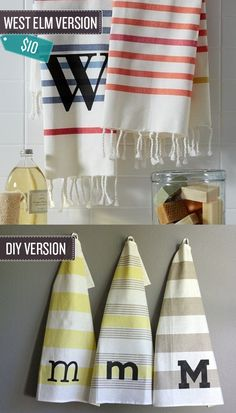 Monogram your dish towels.   24 West Elm Hacks - Birthday or xmas idea for all the girls