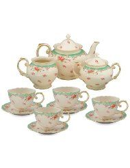 Gracie China Vintage Green Rose Porcelain 11 Piece Tea Set