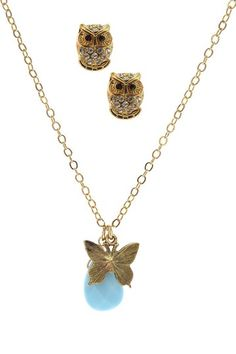 Butterfly & Owl Necklace & Earring Set , they are lovely <3