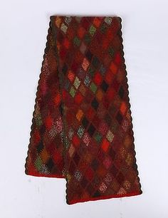 SOPHIE-DIGARD-100-Wool-Multicolor-Diamond-Patch-Scallop-Knit-Oblong-Scarf-Wrap