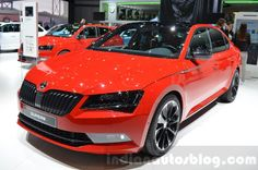 The Skoda Superb SportLine is showcased at 2016 Geneva Motor Show. Featuring a sporty appearance, the model will be offered as a more dynamic alternative. Geneva Motor Show, Cars And Motorcycles, Cool Cars, Sporty, Passion, Lights, Live, Vehicles, Collection