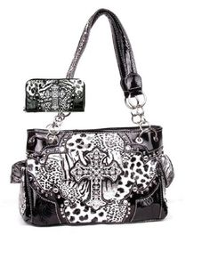 Western Cross Leopard Handbag Rhinestone Pocket Purse With Matching Wallet (Blac #HBM #Hobo