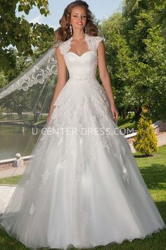 A Line Cap Sleeve Floor Length Ruched Sweetheart Tulle Wedding Dress With Appliques And Cape