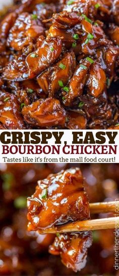 Easy Bourbon Chicken that's crispy, sweet, sticky and tastes just like the kind you grew up eating at the mall! Poulet Au Bourbon, Pollo Al Bourbon, Grilled Chicken Recipes, Healthy Chicken Recipes, Asian Recipes, Cooking Recipes, Crispy Chicken, Chinese Recipes, Chinese Food
