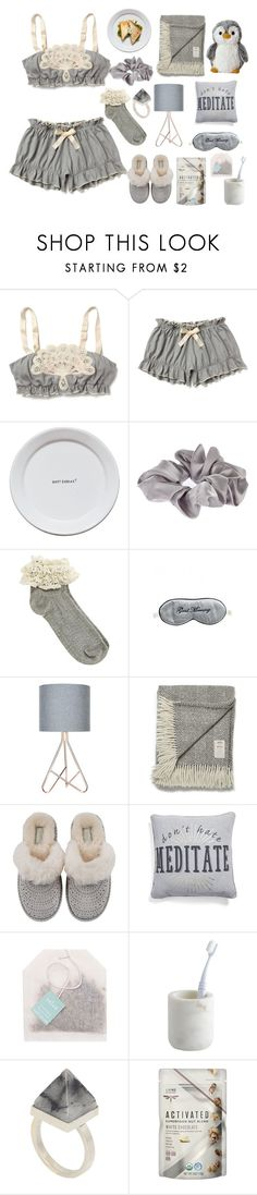 """Bed time☆🌙"" by juliateodora ❤ liked on Polyvore featuring Anthropologie, Les-Ottomans, River Island, Oasis, Mary Green, Avoca, UGG, Levtex, Paper Source and CB2"