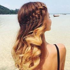 22 of the Prettiest Waterfall Braids on Pinterest | Windblown Waterfall With Wavy Curls