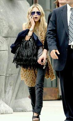 Olsen, estilo boho, bolso de flecos.
