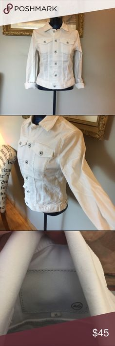 AG White Denim Jacket Worn twice AG White Denim Jacket. Super cute to pair with any dress for a cute look! No major flaws. Stretch Denim material. AG Adriano Goldschmied Jackets & Coats Jean Jackets