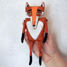 Red Flannery Fox, Contemporary Folk Art Doll by cartbeforethehorse, on Etsy. 7 inches tall. 80$.