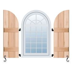 Architectural Collection Real Wood Arch Top Board-n-Batten Shutters (Per Pair)