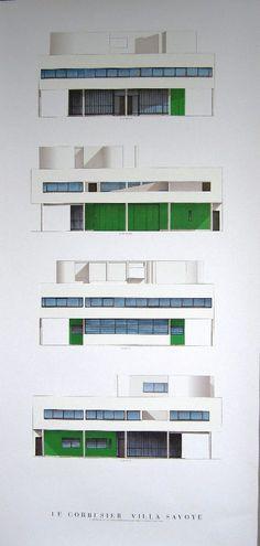 Print: Four elevations of Le Corbusier's Villa Savoye