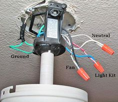 Ceiling fan switch wiring for fan and light kit. Includes one and two wire configurations with wiring diagrams. Ceiling Fan Wiring, Ceiling Fan Switch, Ceiling Fan Motor, Ceiling Fan Installation, Lamp Switch, Electrical Installation, Ceiling Fans, Basic Electrical Wiring, Electrical Projects