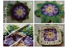 Hola! Hi! Ahora el procedimiento para este granny con una flor acuática como inspiración... Now the process for made this granny whith a wat...
