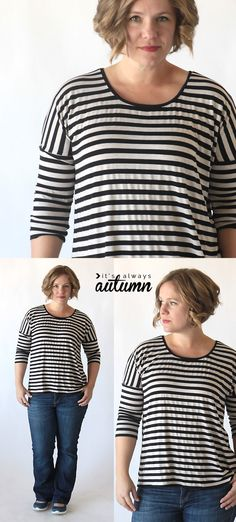 Learn how to sew this cute, easy to make long sleeve dolman tee using a free printable pattern and tutorial. DIY t-shirt.
