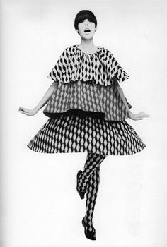 Rudi Gernreich ensemble modeled by Peggy Moffitt, 1960s