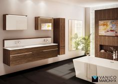 Stylish contemporary bathroom with modern double sink bath vanity by Vanico Maronyx / Times Square Collection Bathroom Furniture, Bathroom Ideas, Downstairs Bathroom, Bath Vanities, Beautiful Bathrooms, Corner Bathtub, Contemporary, Modern, Master Bath