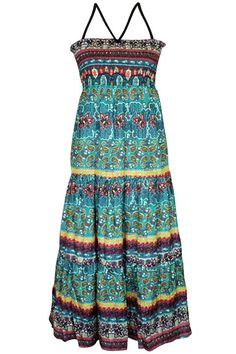 Boho Style Multicolor Print Sundress With Smocked Bust