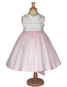 Pink and white elegant girls Easter dress. Smocked by CarouselWear, $54.99