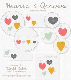 Free Printables Hearts and Arrow hand drawn printables labels by @Catherine Auger