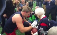 J.J. Watt took some time before Saturday's playoff game to meet with a fan of his.