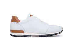 Oblíbené sneakers Blažek ze sněhové bílé teletinové usně, s detaily z hladké koňakové usně. Chelsea Boots, Ankle, Sneakers, Shoes, Fashion, Tennis, Moda, Slippers, Zapatos