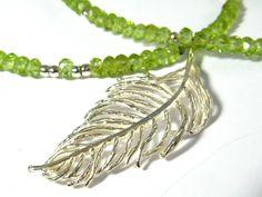 Peridot  Kette Silberfeder 925 Geschenk Sommer von Elstar-Design auf DaWanda.com