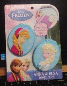 Disney Frozen Anna & Elsa Towel Clips,Keep Your Towels in Place, NWT's #Disney