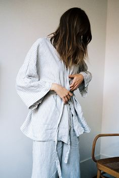japanese inspired kimono top paired with our wide leg lounge pant pants are designed to be worn loose and have an elasticated waistband with ties. made from 100% stone washed french linen