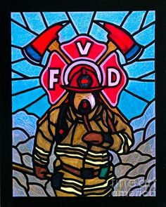 Stained Glass Firefighter Mural