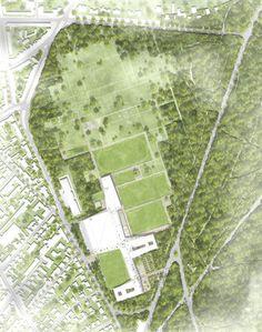 1. Preis: Lageplan M 1 : 500 ─ kadawittfeldarchitektur mit greenbox Landschaftsarchitekten, © kadawittfeldarchitektur / dfb