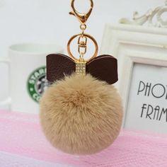 Faux Rabbit Fur Ball Bowknot Charm Car Keychain Handbag Key Ring Delicate Sep 27