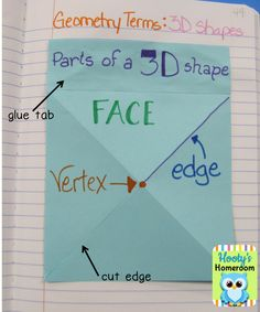 Hooty's Homeroom: Foldable Fun–Geometry -- Using regular composition books for lapbooks and notebooking -- much easier than the file folder for a large classroom....