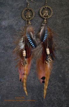 Boucles d'oreilles plumes ethniques Nallini par Tendancesethniques