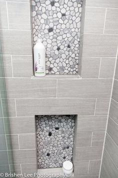 Two Shower Nooks With Marble Pebbles And Horizontal Grey Porcelain Tiles Modern Bathroom Renovation