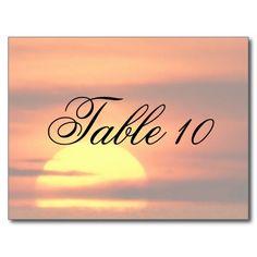 Ocean Sunset Wedding Table Number Postcard