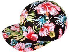 Wholesale Cotton Flat Bill 5 Panel Floral Snapback Hats w/Leather Strapback (Black Flower) Mens Summer Hats, Flat Bill Hats, 5 Panel Hat, Black Snapback, Strapback Hats, Hawaiian Print, Caps Hats, Men's Hats, Hats For Men