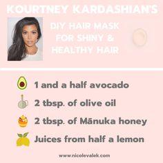 Kourtney Kardashian DIY Avocado Hair Mask - NICOLEVALEK.COM Kourtney Kardashian, Kardashian Nails, Kardashian Beauty, Diy Natural Beauty Hacks, Diy Beauty, Beauty Skin, Avocado Mask, Healthy Hair Tips, Hair Remedies
