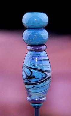 Swirlpool SET of THREE Handmade Lampworked Glass Beads OOAK Set Blue Purple Black Barrel Donuts Lampwork