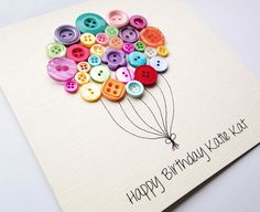 Best Friend Birthday Card  Beautiful Button by LottieandLois #promotingwomen