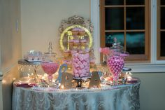 Adorable pink themed candy bar! Hanging Chandelier, July Wedding, Pink Tone, Candy Bars, Something Blue, Dessert Bars, Birthday Candles, Blush Pink, Congratulations