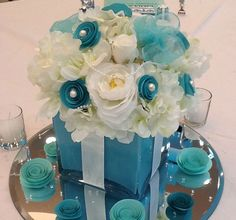 Silk Flower Centerpieces Tiffany Themed for Bridal Shower Sweet 16 - Set of 10. $400.00, via Etsy.