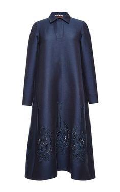 Midnight Silk Twill Dress With Bat Embroidery by Rochas - Moda Operandi