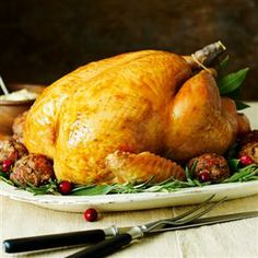 Try a fuss-free, easy Christmas turkey recipe made simply with lemons, goose fat, onions and rosemary. It's a festive turkey classic. Stuffing Recipe With Bacon, Stuffing Balls Recipe, Stuffing Recipes, Easy Christmas Turkey, Christmas Roast, Christmas Kitchen, Family Christmas, Merry Christmas, Roast Turkey Recipes